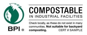BPI label for compostable in industrial facilities. Check locally, as these do not exist in many communities. Not suitable for backyard composting.