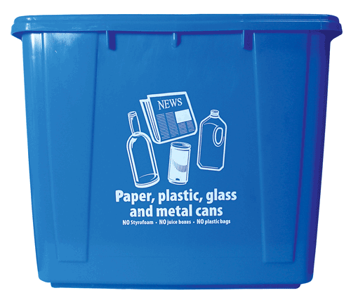 16-gallon blue recycling bin.