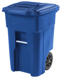 a blue recycling cart on wheels.