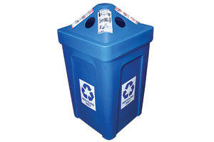 Blue recycling bins for events