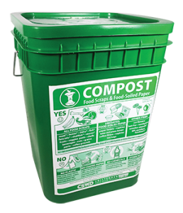 A 4-gallon green bucket with a label.