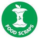 "A green sticker with a white apple core and the words ""food scraps"""