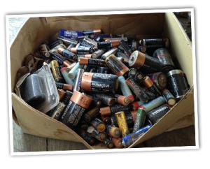Assorted batteries in a box for recycling