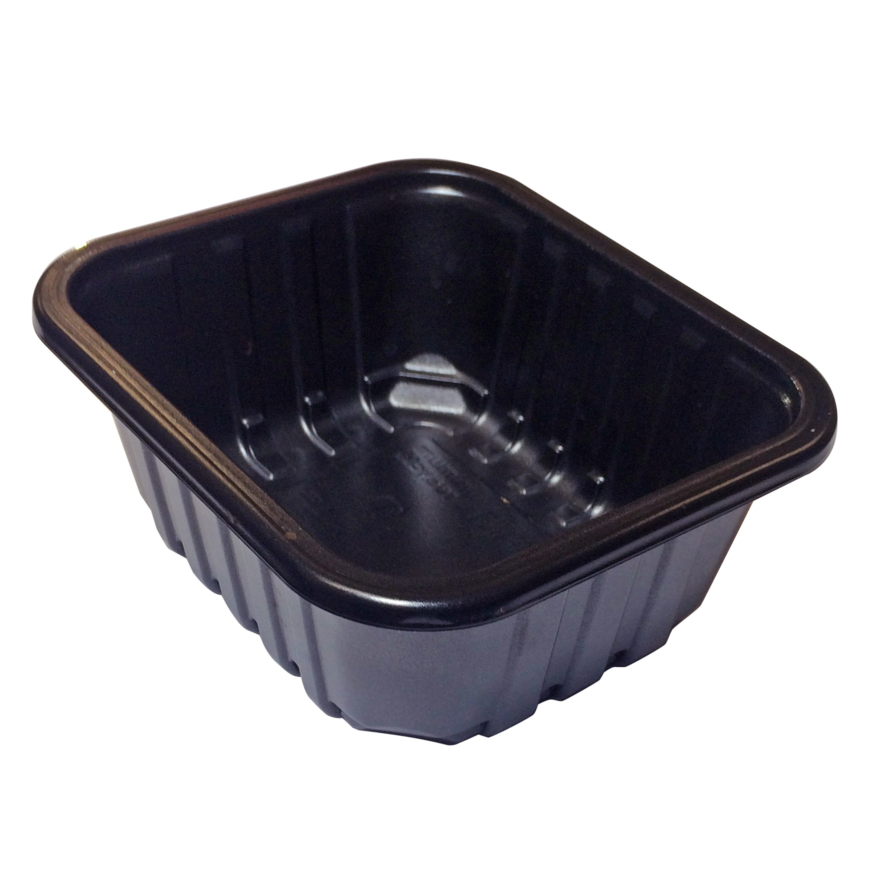 A black plastic food service container