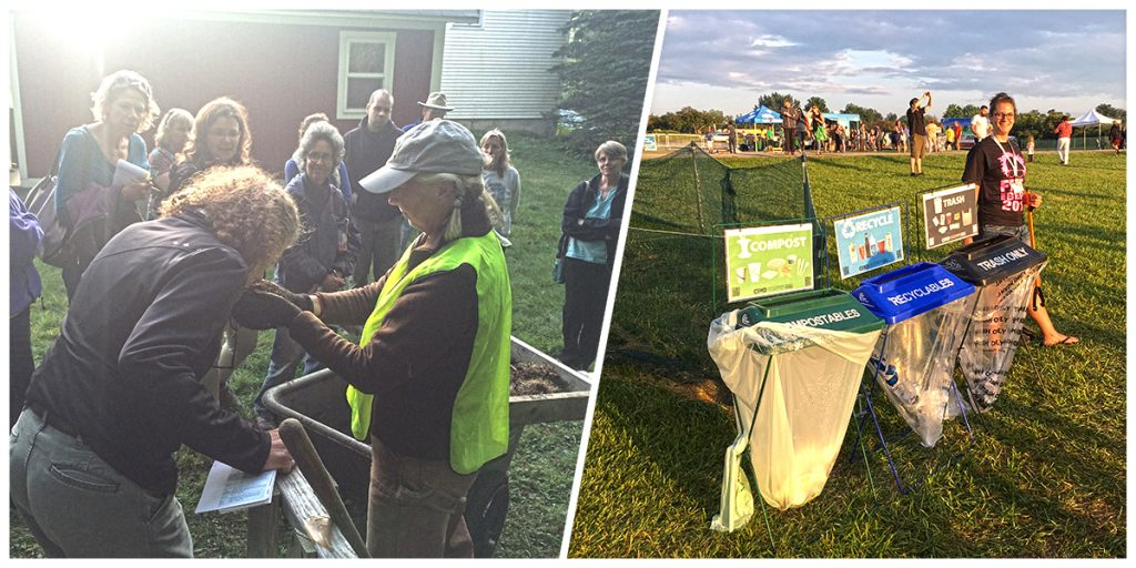 On left, workshop participant smells fresh compost. On right of split screen, a Waste Warrior stands next to a sort station at an event.