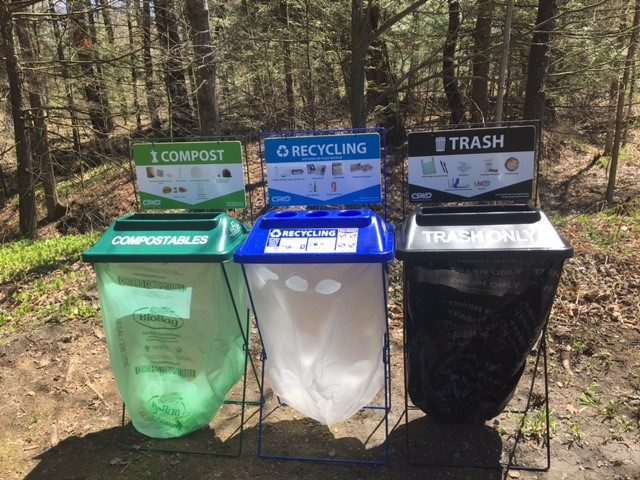 Clearstream bins for recycling, trash, and food scraps.