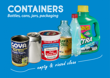 Examples of containers, including metal cans, a plastic yogurt tub, a glass bottle, plastic soda bottle, and plastic detergent bottle