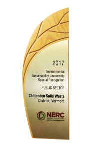 Leaf-shaped environmental award.