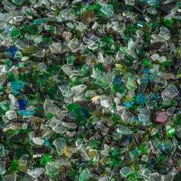 A variety of crushed glass in blue and green hues