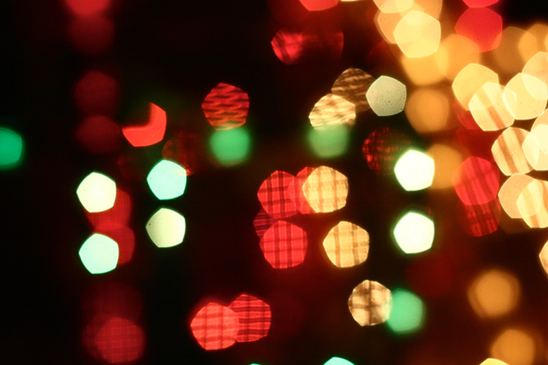 Blurred colored holiday lights