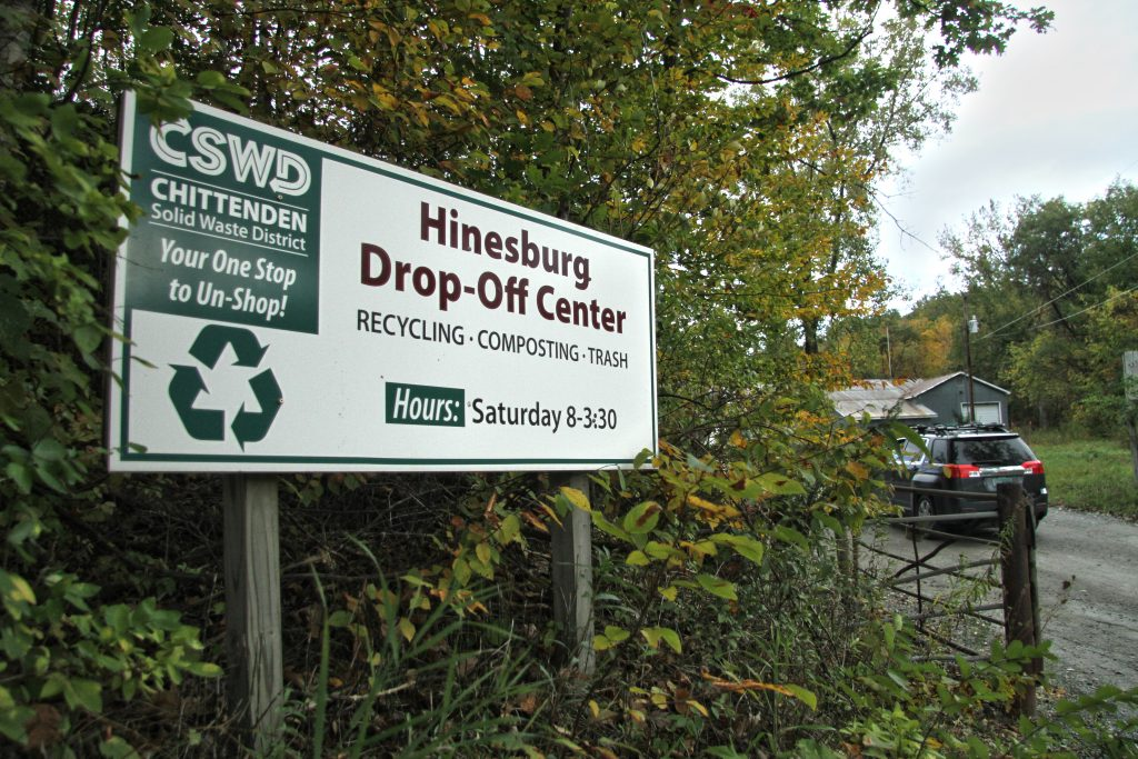 Entrance sign to CSWD Hinesburg Drop-Off Center.