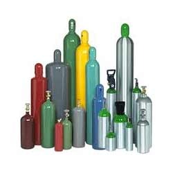 Assortment of industrial gas cylinders