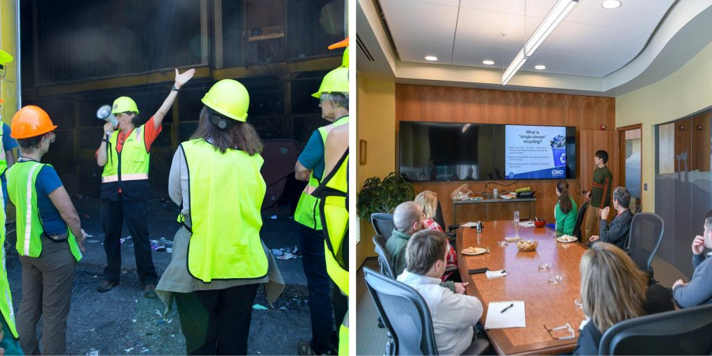 Left image is of a tour leader speaking to a group of visitors through a megaphone. Right image is of a conference room full of people watching a presentation on recycling.