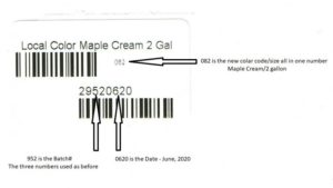 Local Color Maple Cream 2 Gal barcode breakdown showing which part of the barcode is the color code, the batch number, and the date it was mixed.