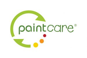 Paintcare logo green semi circle with a red, orange, and yellow dot completing the circle surrounding the work paintcare.