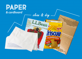 Examples of paper and cardboard, including envelopes, a magazine, a Triscuit box, and corrugated cardboard