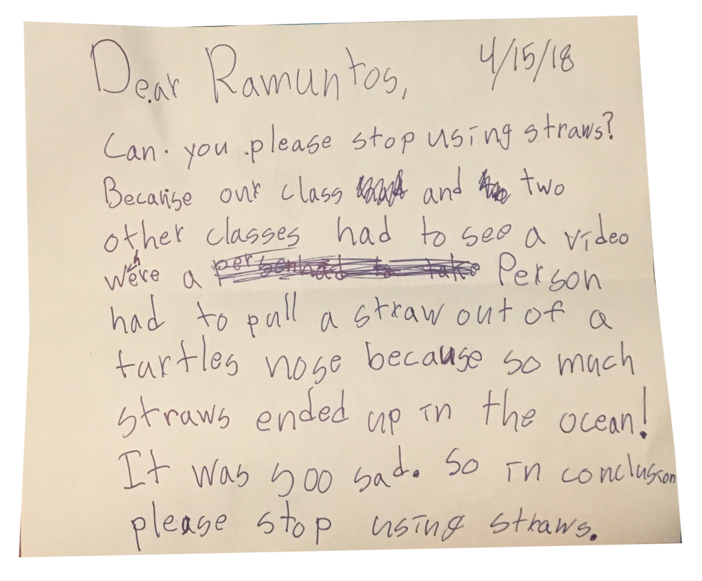 Letter from third grader asking Ramuntos to stop using plastic straws.