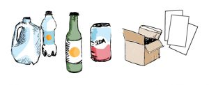 Illustrated image of a milk jug, plastic bottle, glass jar, and other recyclables.