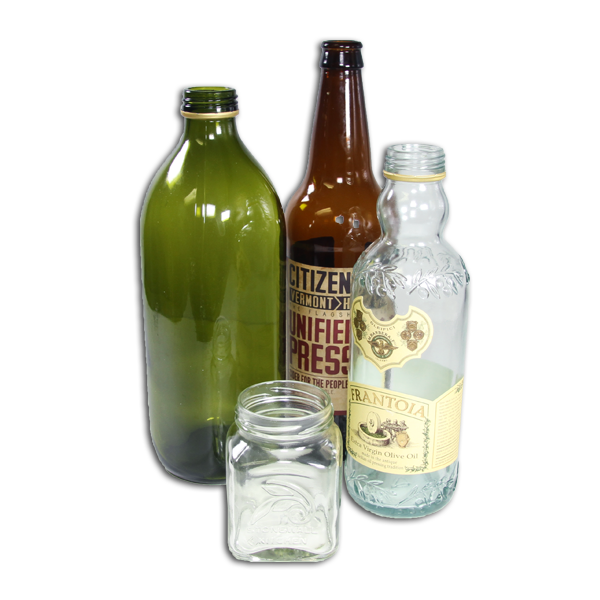 An assortment of glass bottles & jars