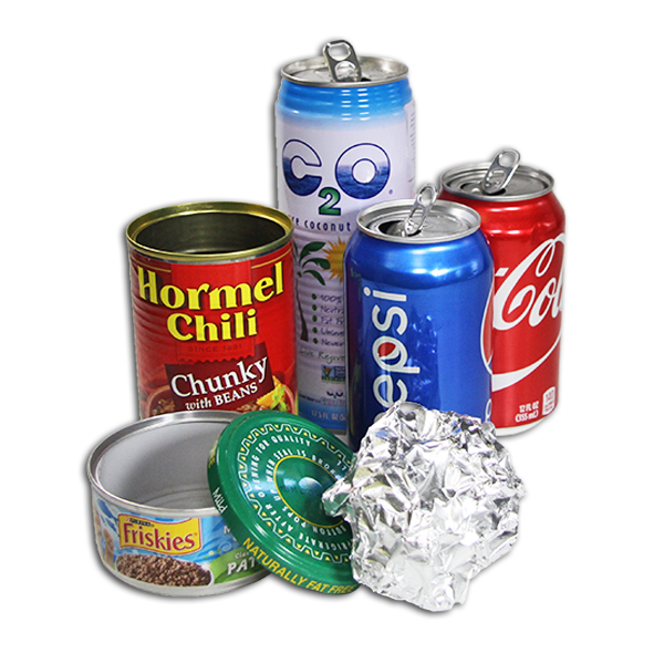An assortment of metal cans, a metal jar lid, and a ball of aluminum foil