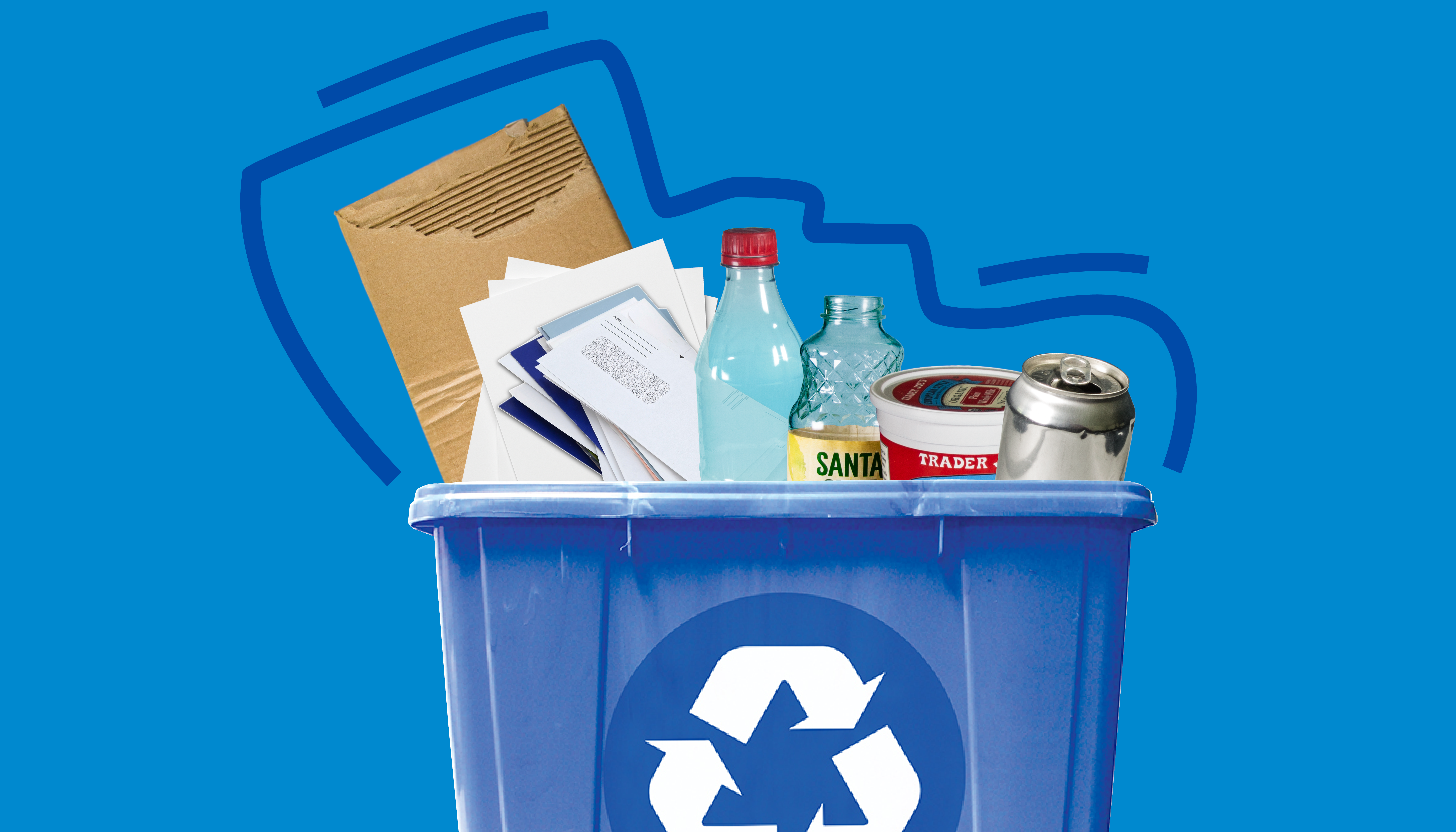 recyclables in a blue bin
