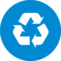 blue circle with white recycling symbol inside