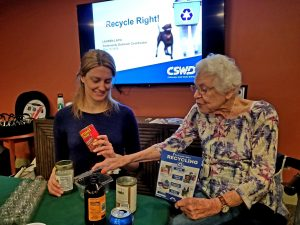 Community Outreach Coordinator Lauren Layn gives a recycling presentation at Quarry Hill in South Burlington