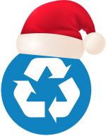 A blue circular recycling symbol with a santa hat on top