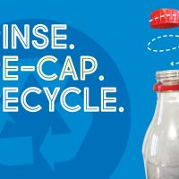"A plastic bottle and cap with an arrow showing to twist the cap on the bottle. Text says ""Rise. Re-cap. Recycle."""