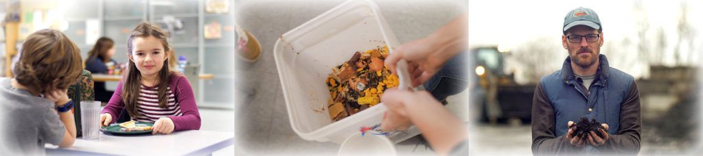3 images showing the process of food becoming compost