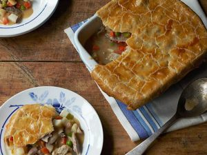 Turkey pot pie in a baking dish.