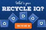 "Recycling bin illustration with the words ""What's your recycle IQ?"""