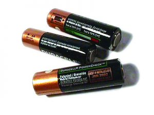 A flashlight battery