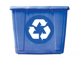Blue plastic recycling bin with a chasing arrows recycling symbol on the front.