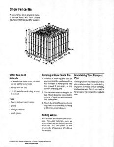 Image of a sheet in the compost bin plan guide, with directions on building a Snow Fence Bin.