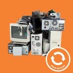 Image of electronics on an orange background with an orange symbol for special recycling