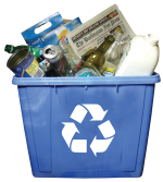 Recycling bin loaded with mixed recyclables.