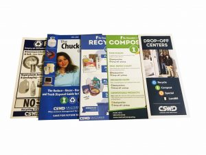 A variety of Chittenden Solid Waster District brochures about trash, recycling, and composting.