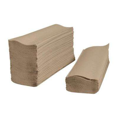 A stack of brown paper towels.