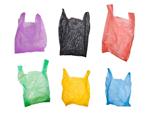 plastic bags in assorted colors.