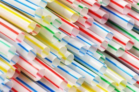 multi-colored plastic straws