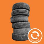 Image of tires on an orange background with an orange symbol for special recycling