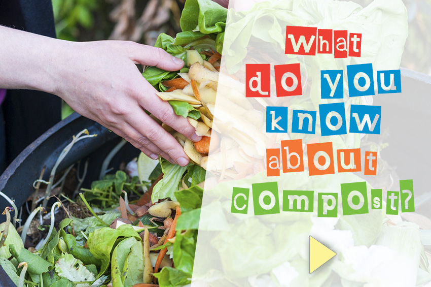 Text over an image of hands emptying food scraps into a compost pile.